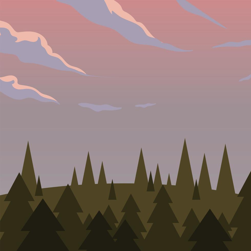 landschap van pijnbomen en paarse hemelachtergrond vector