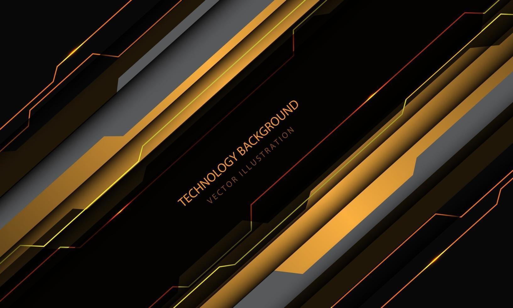 abstracte technologie cyber circuit geel grijs metalen schuine streep snelheid ontwerp moderne futuristische achtergrond vectorillustratie. vector