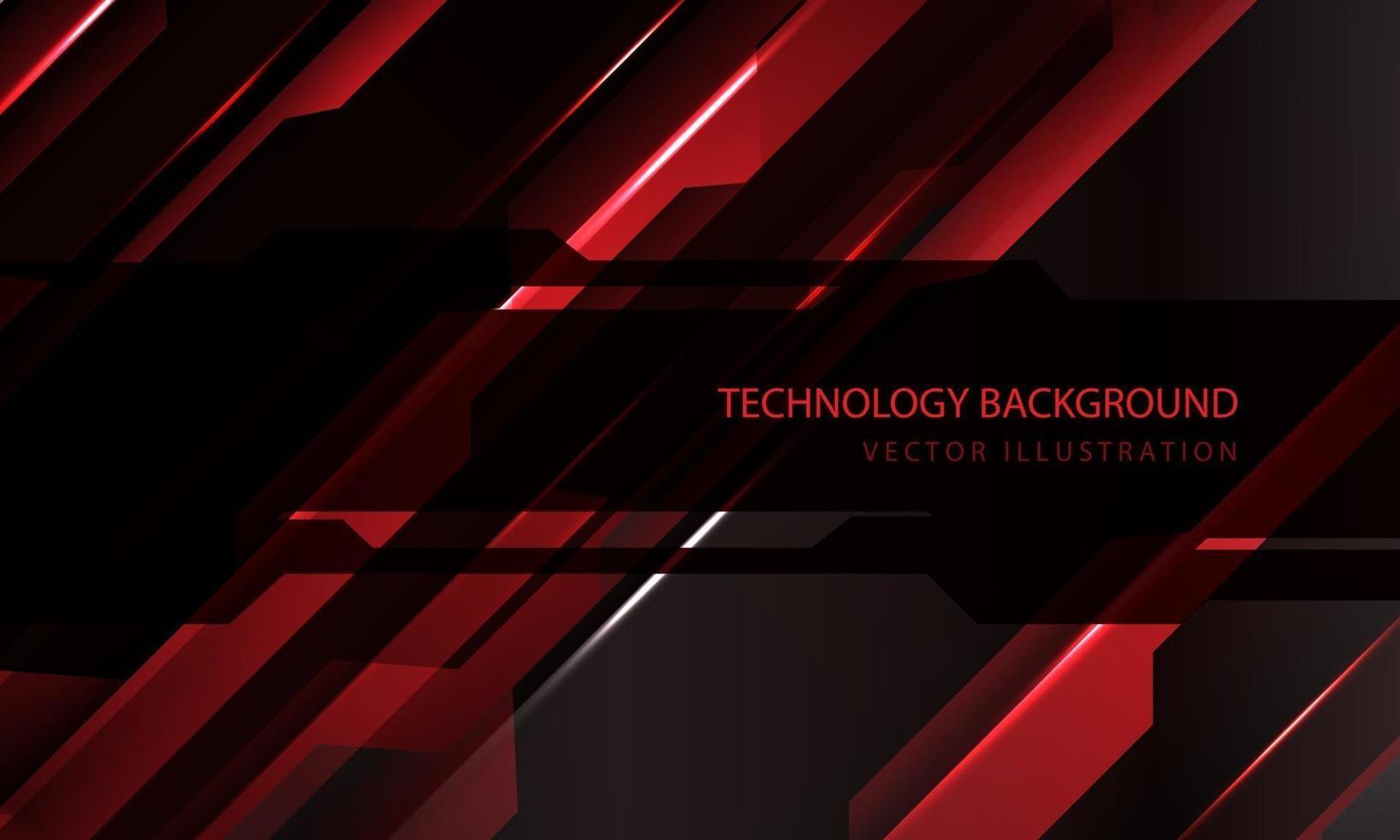 abstract technologie cyber circuit rood zwart metallic schuine streep snelheid donker banner transparantie overlapping ontwerp moderne futuristische achtergrond vectorillustratie. vector