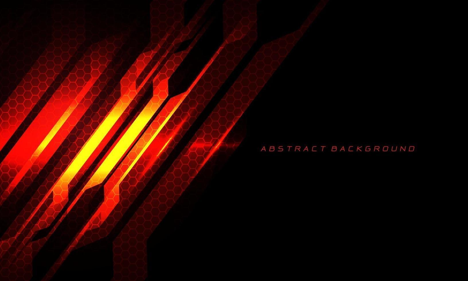 abstract rood vuur metalen circuit cyber slash zeshoek gaas op zwart met lege ruimte en tekst ontwerp moderne technologie futuristische achtergrond vectorillustratie. vector