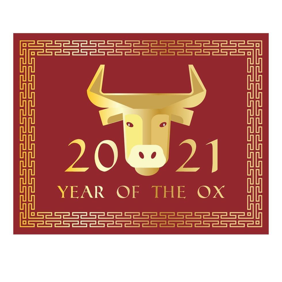 rood goud 2021 jaar van de os Chinees Nieuwjaar rechthoekige afbeelding vector