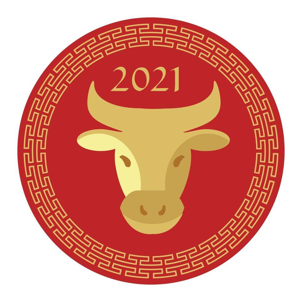 rode tan 2021 jaar van de grafische cirkel van het os Chinese nieuwe jaar vector