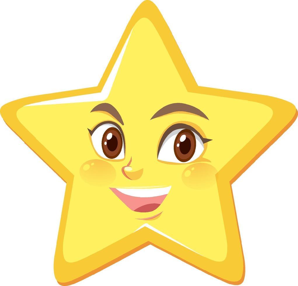 ster stripfiguur met blij gezicht expressie op witte achtergrond vector