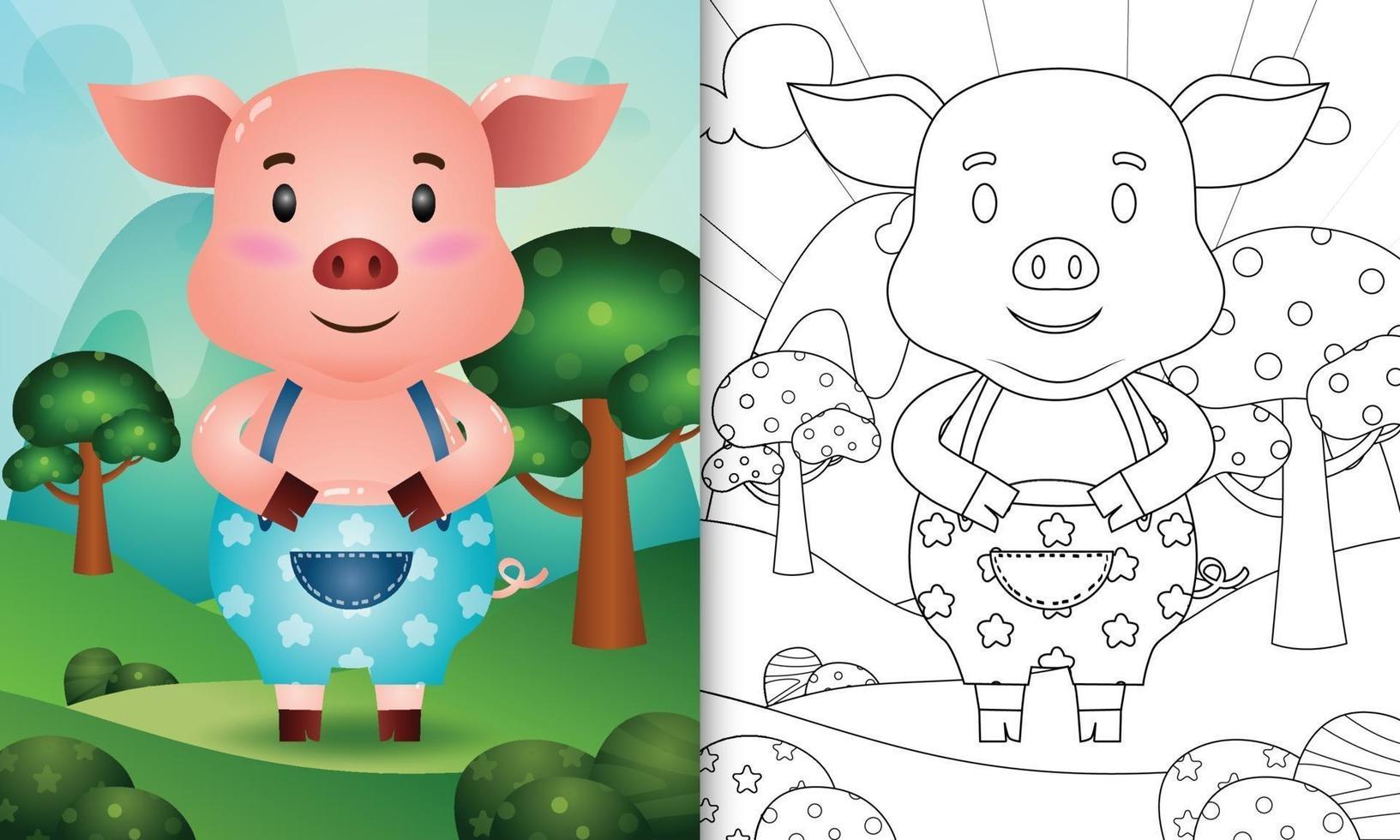 kleurboeksjabloon voor kinderen met een schattig varken karakter illustratie vector