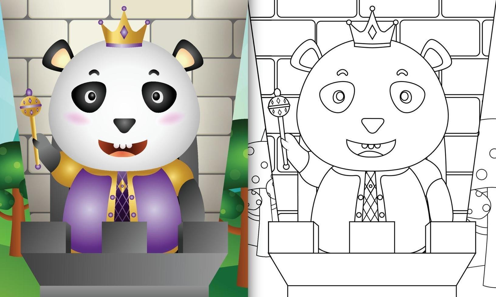kleurboeksjabloon voor kinderen met een schattige illustratie van het koningspanda-karakter vector