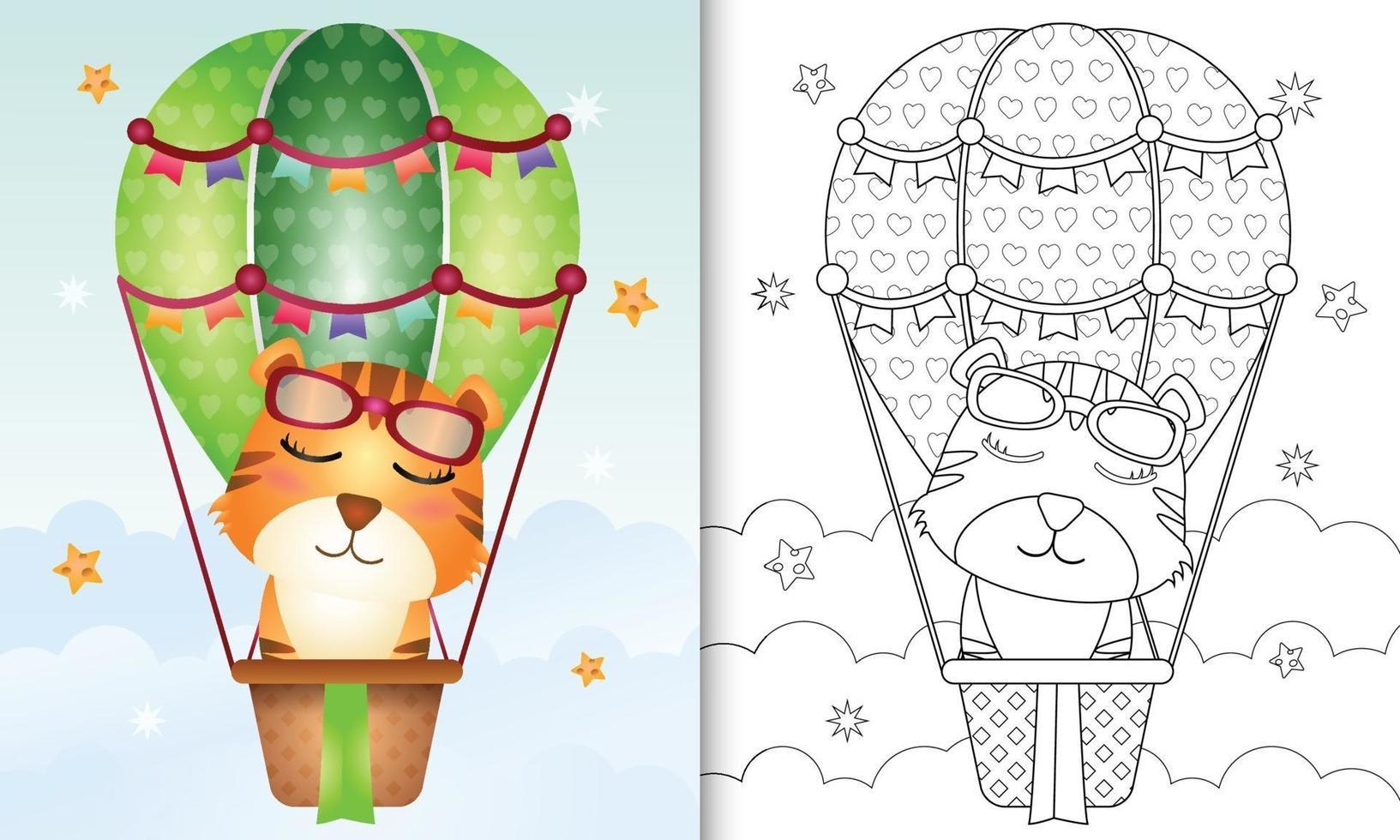 kleurboeksjabloon voor kinderen met een schattige tijger op heteluchtballon vector