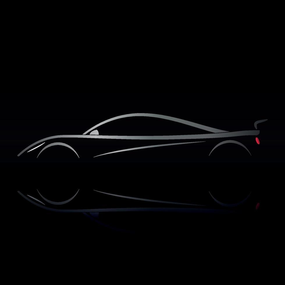 sportwagenontwerp op zwarte achtergrond met bezinning. vector
