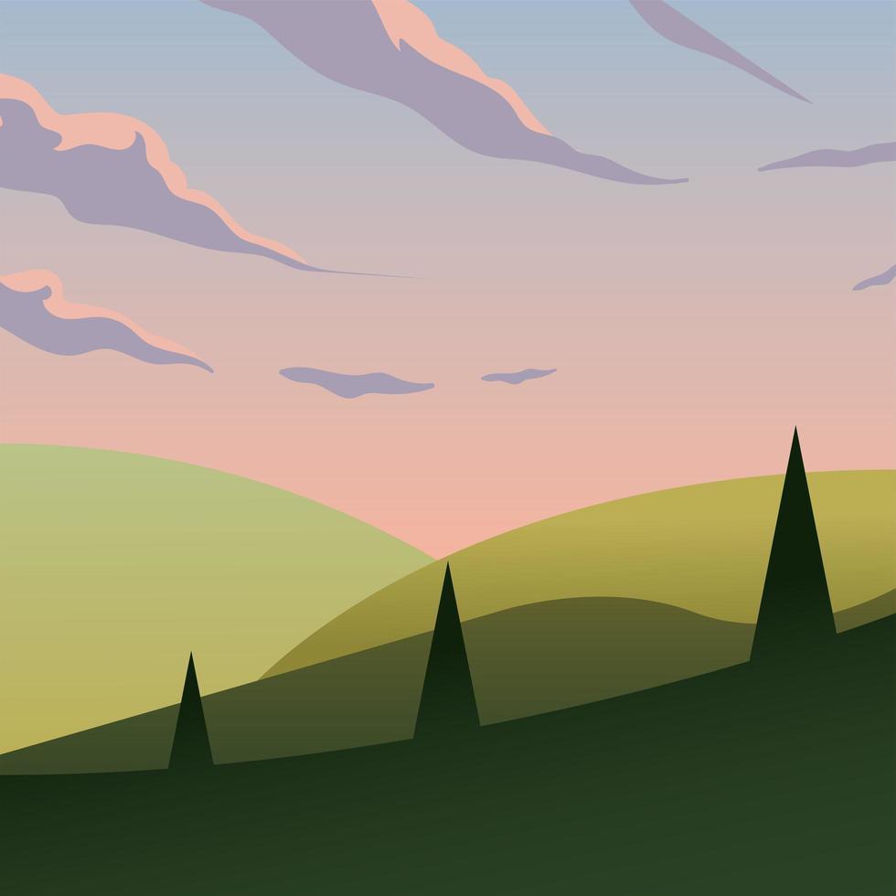 roze hemel boven pijnbomen en bergen achtergrond vector