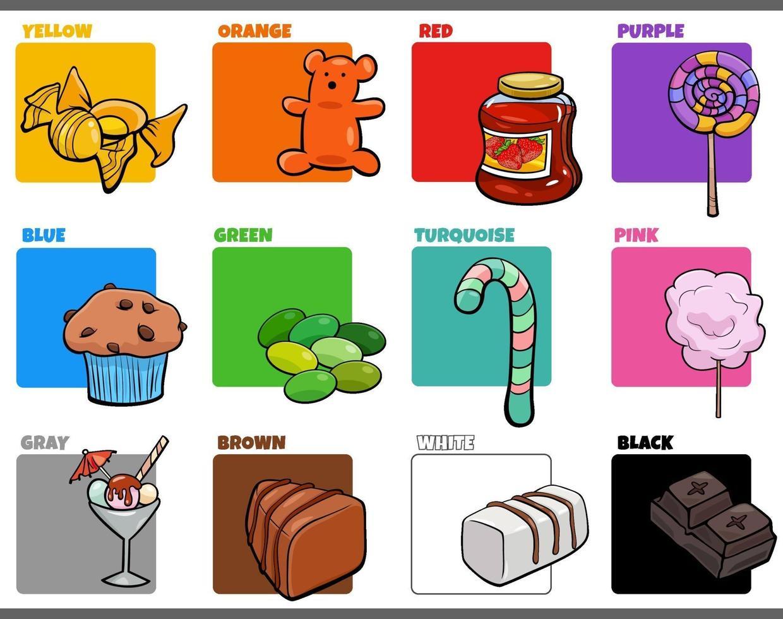 basiskleuren instellen met cartoon zoete voedselvoorwerpen vector