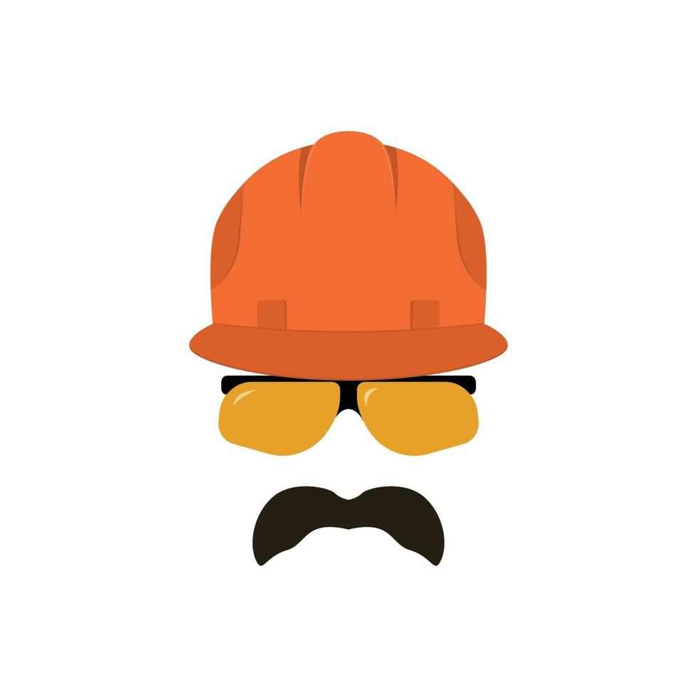 bouwer gezicht met bril in een bouwhelm. vector