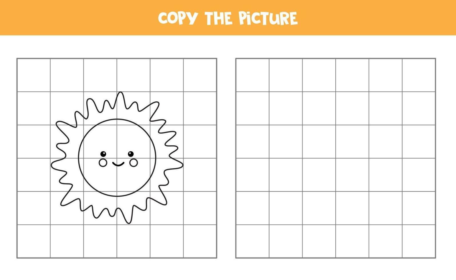 kopieer de afbeelding. schattige zon. logisch spel voor kinderen. vector