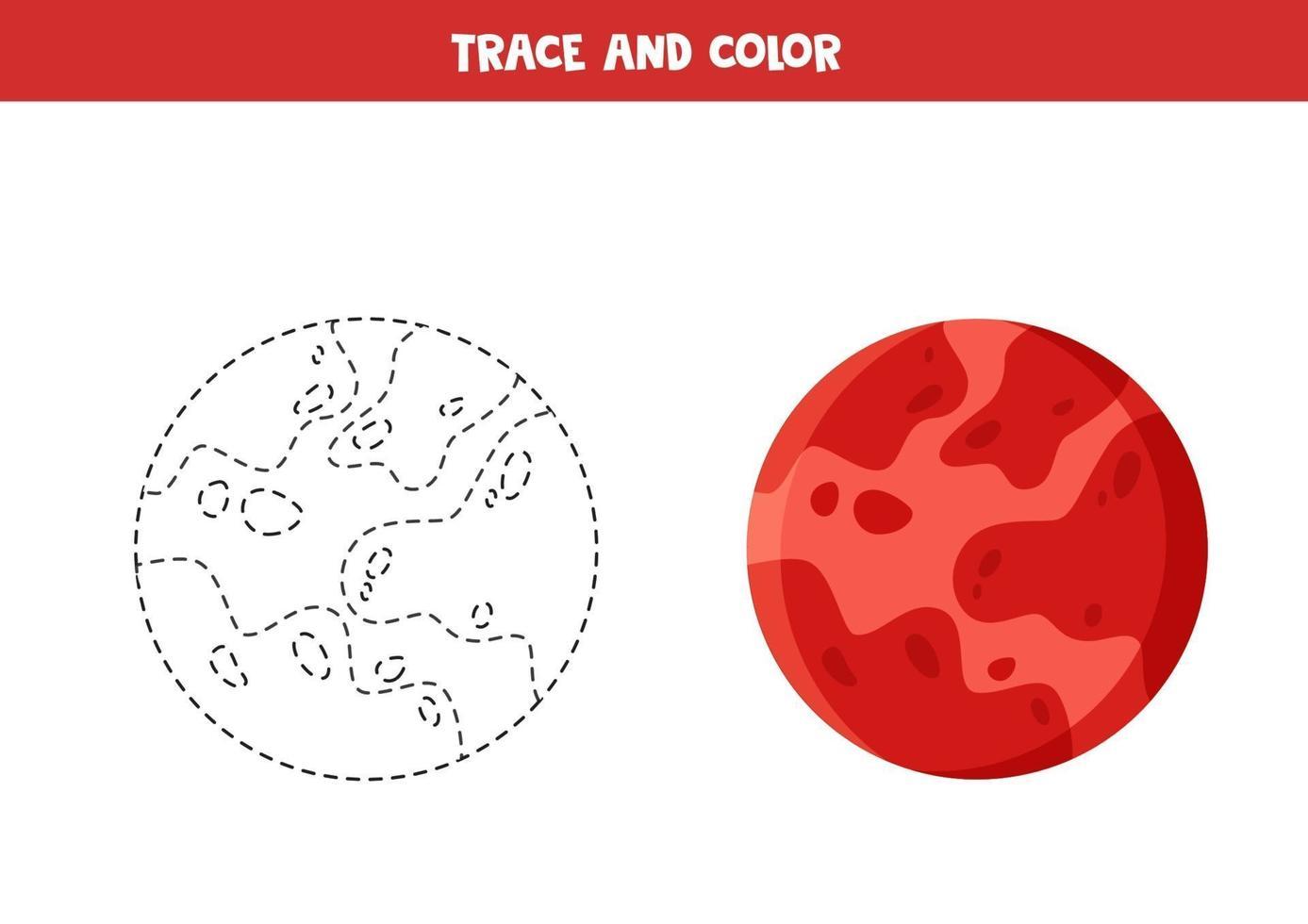 trace en kleur cartoon mars planeet. grappig werkblad voor kinderen. vector