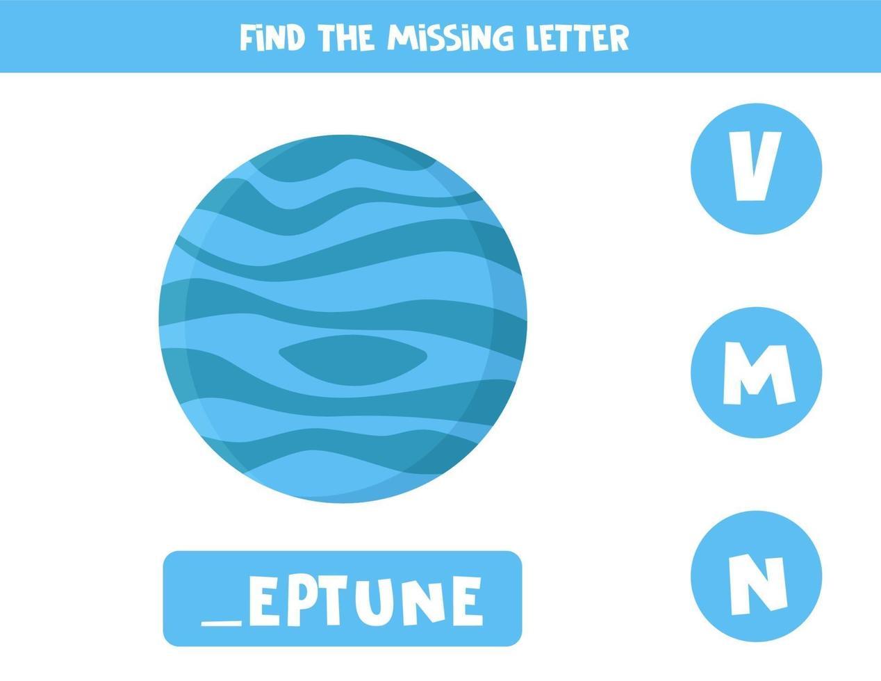 vind ontbrekende brief met cartoon neptunus. spelling werkblad. vector
