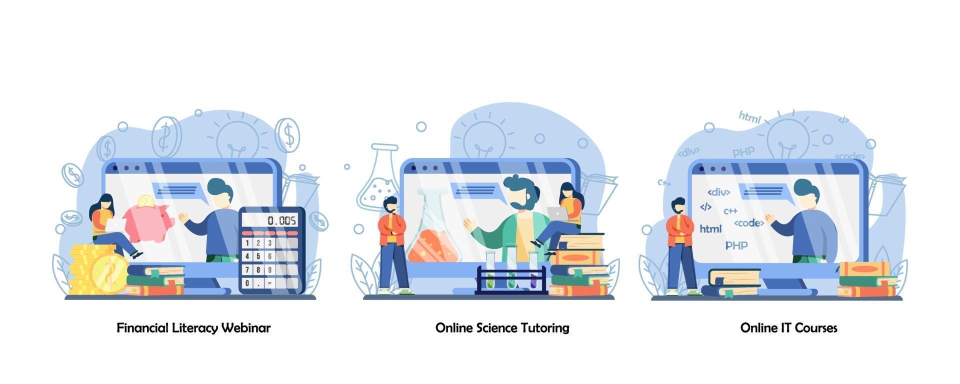 online onderwijs, online klas, digitaal onderwijsplatform icon set. webinar over financiële geletterdheid, online wetenschappelijke bijles, online it-cursussen. vector platte ontwerp geïsoleerde concept metafoor illustraties