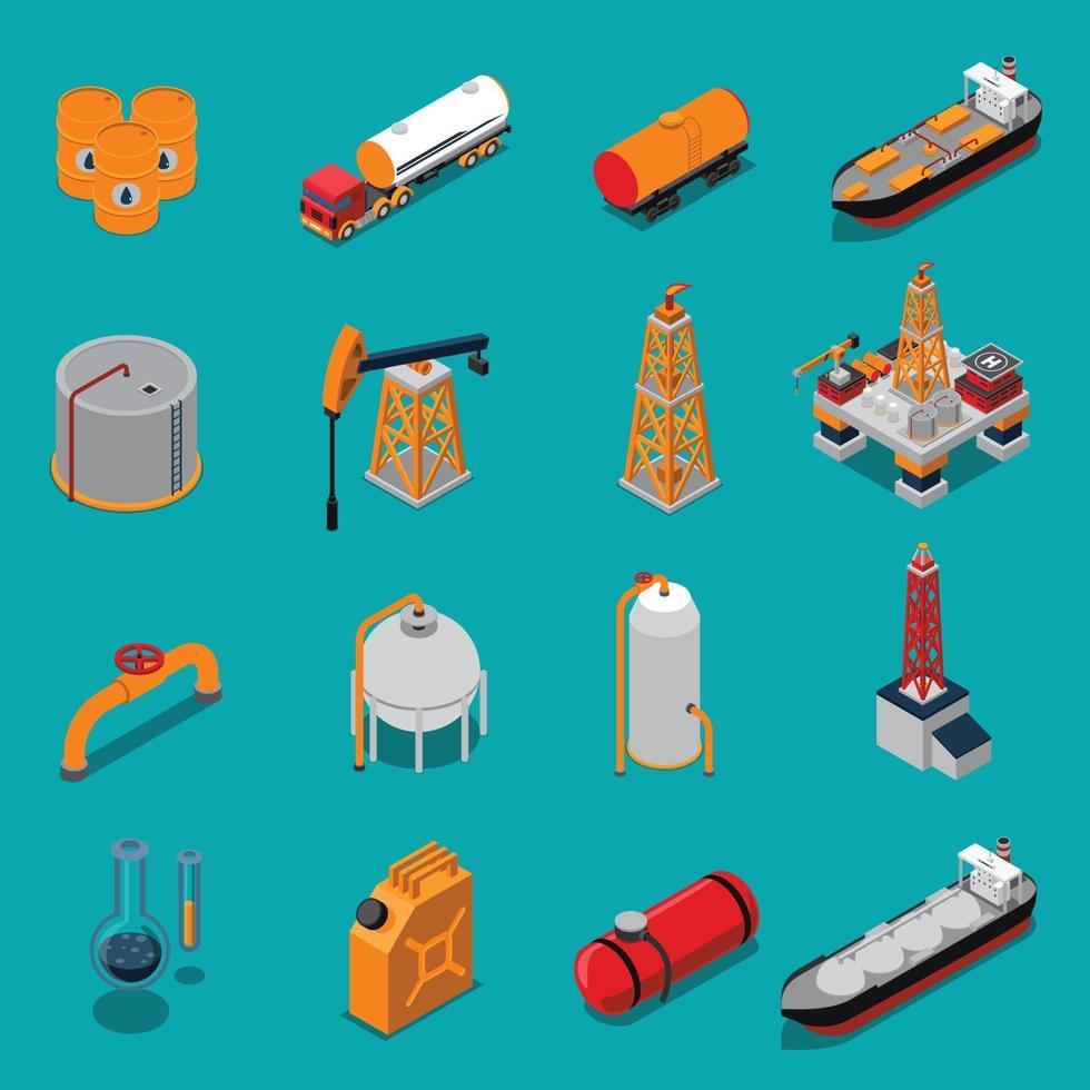 olie petroleum gas industrie isometrische set vector