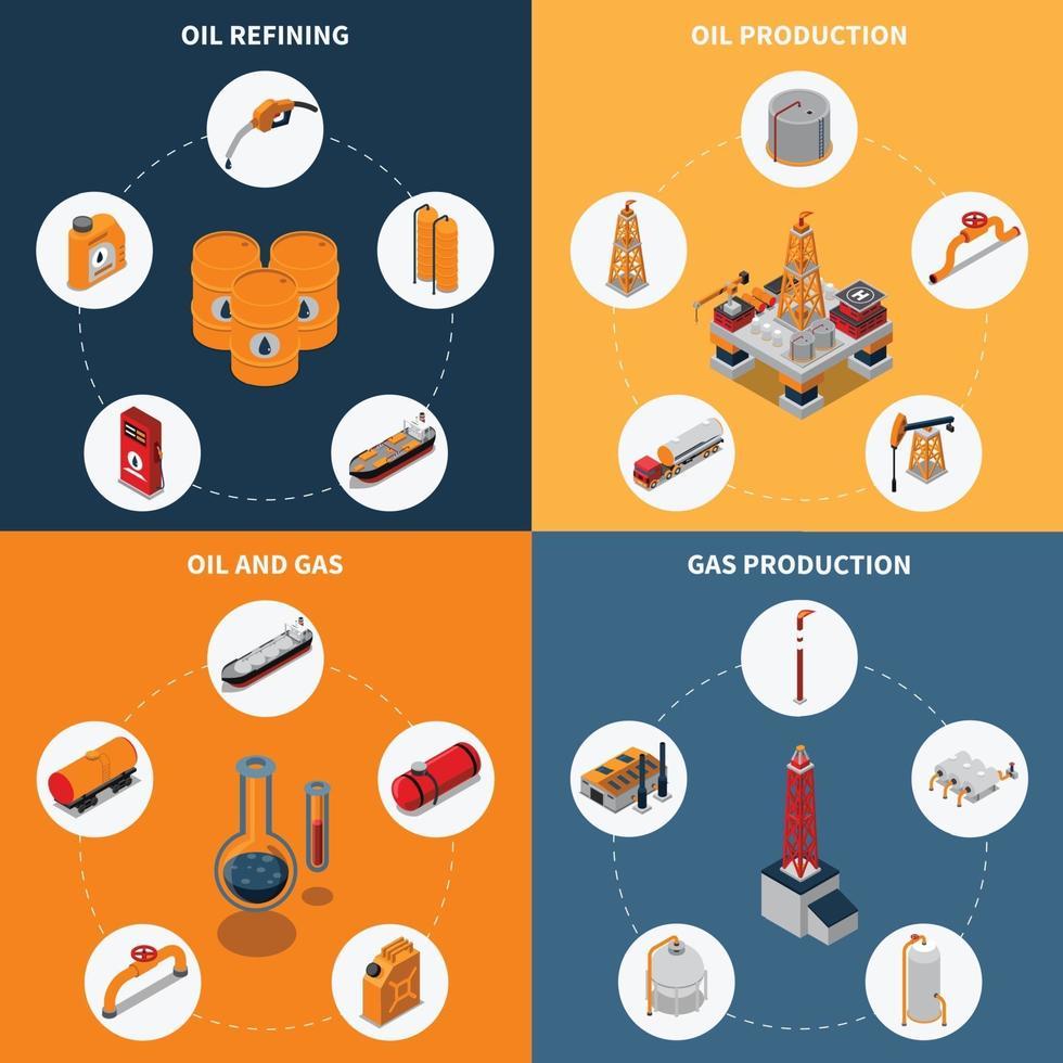 olie petroleum gas industrie isometrische 2x2 vector