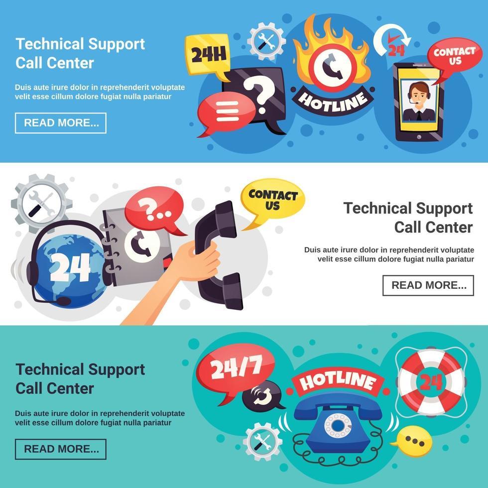 ondersteuning callcenter horizontale banners vector