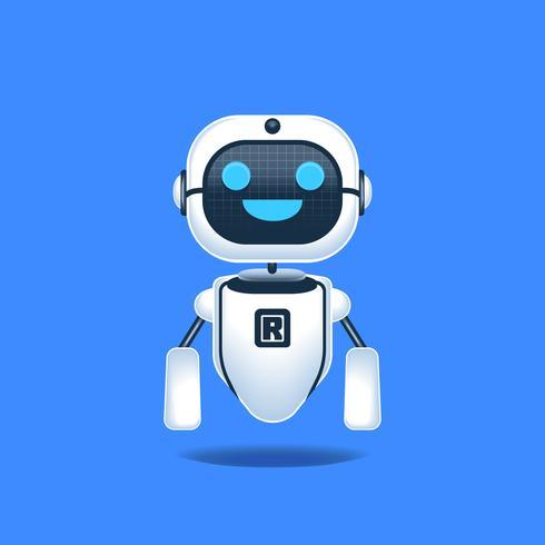 Robot Vrolijk Geïsoleerd op Blauwe Achtergrondconceptenillustratie vector