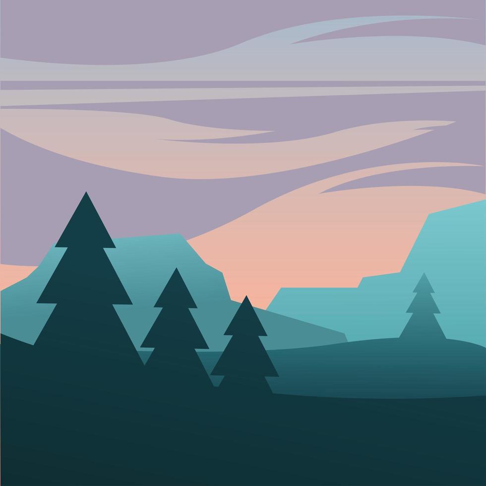 paarse hemel over pijnbomen en bergen achtergrond vector