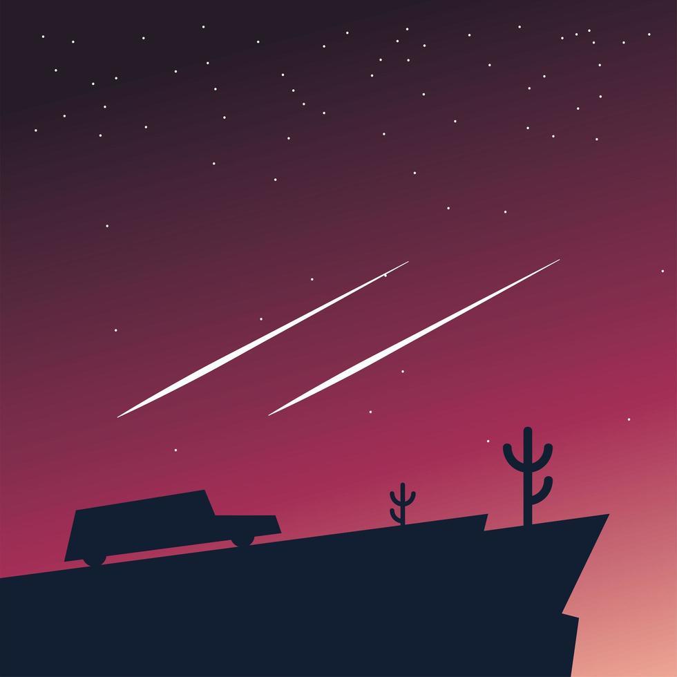 silhouet van een auto op de berg bij nacht achtergrond vector