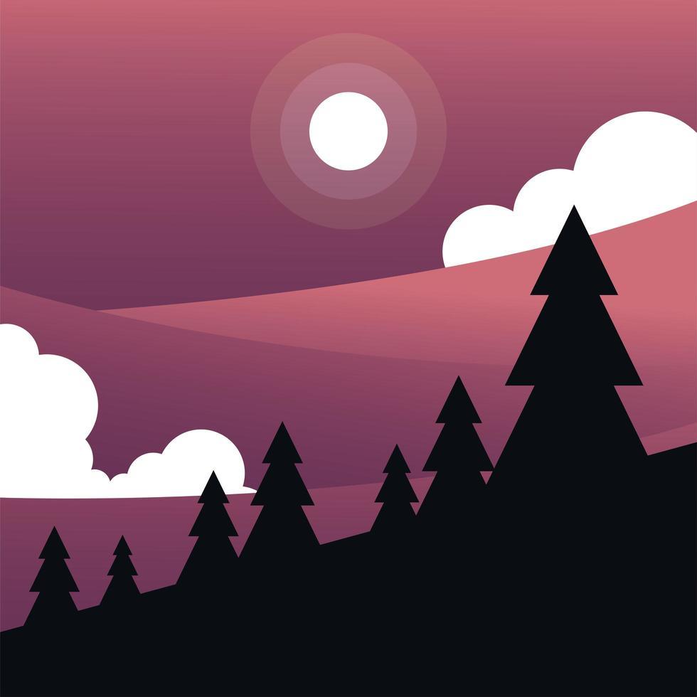 zon en wolken met pijnbomen achtergrond vector