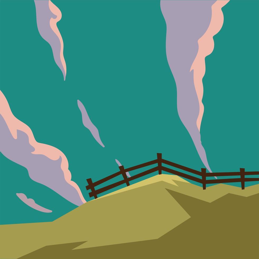 hek in de berg met wolken achtergrond vector
