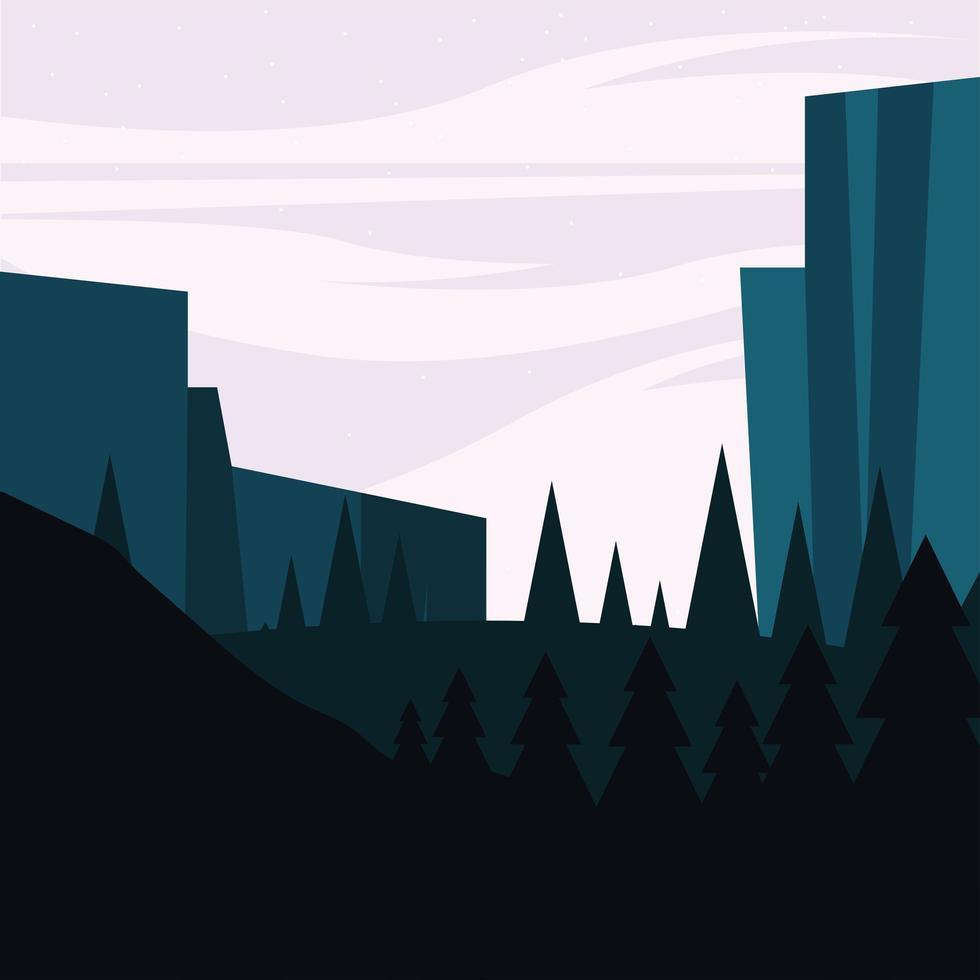 bergen en pijnbomen achtergrond vector