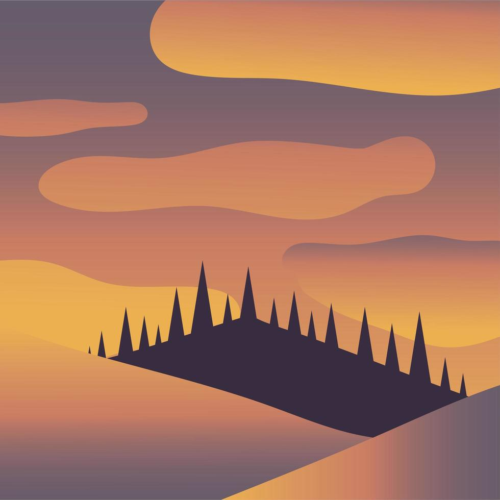 pijnbomen en berg met wolken achtergrond vector