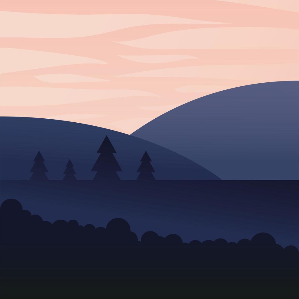 landschap van pijnbomen en bergen achtergrond vector