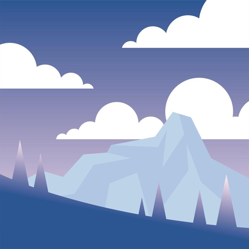 pijnbomen en sneeuw berg achtergrond vector