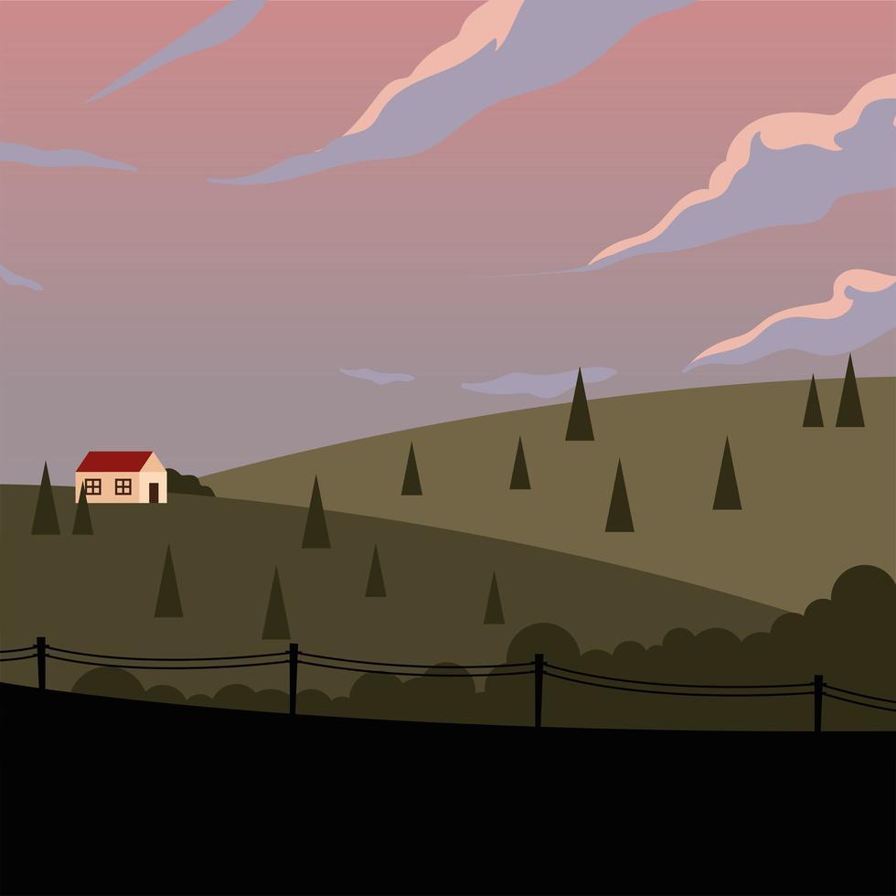 huis in de bergen met pijnbomen achtergrond vector