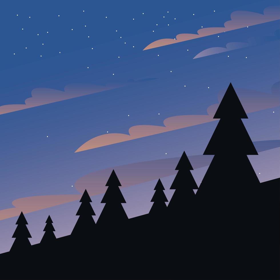 nachtelijke hemel met pijnbomen achtergrond vector