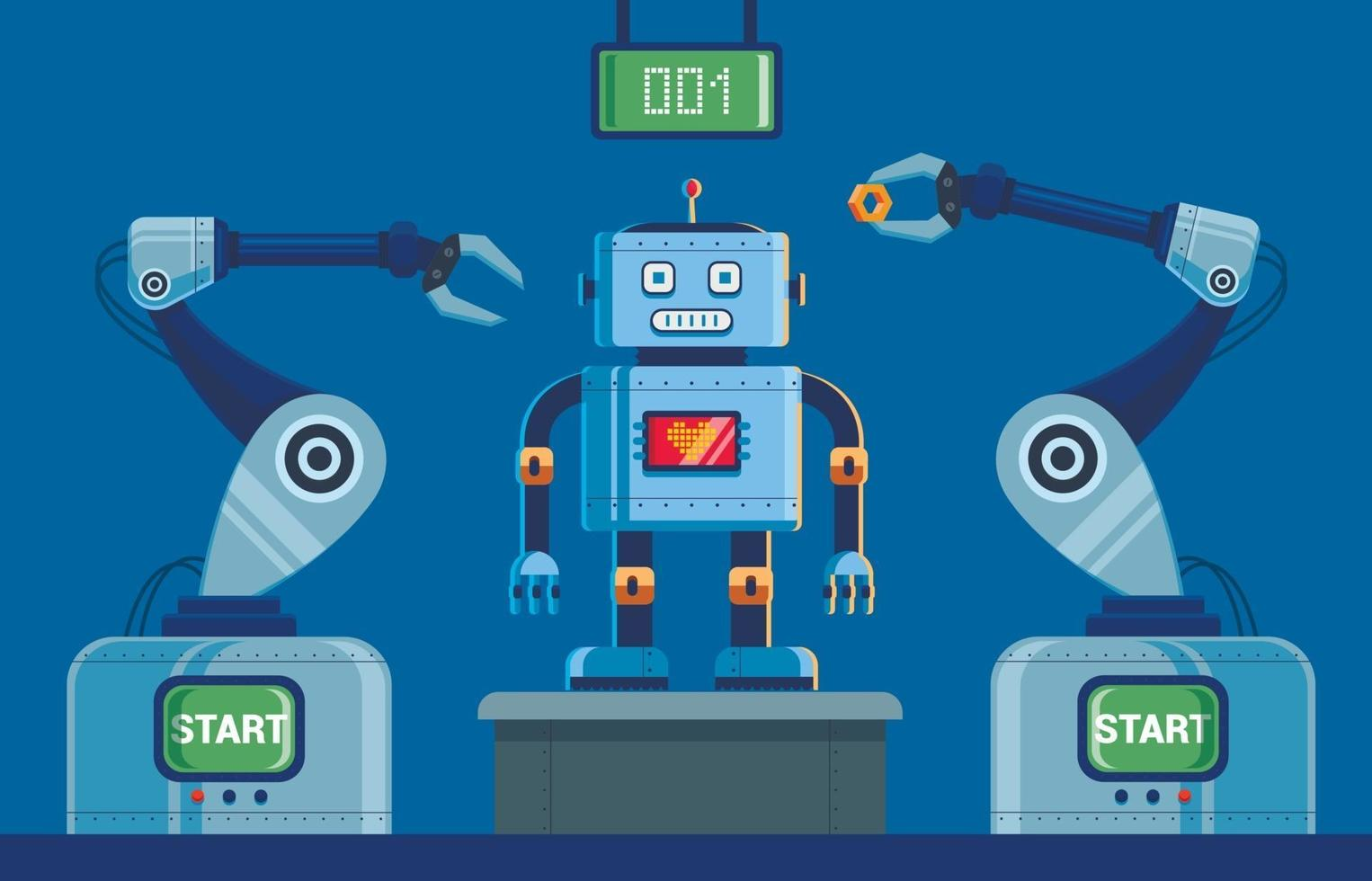 fabriek voor de productie van robots met klauwen. van het scorebord bovenaan. karakter vectorillustratie. vector