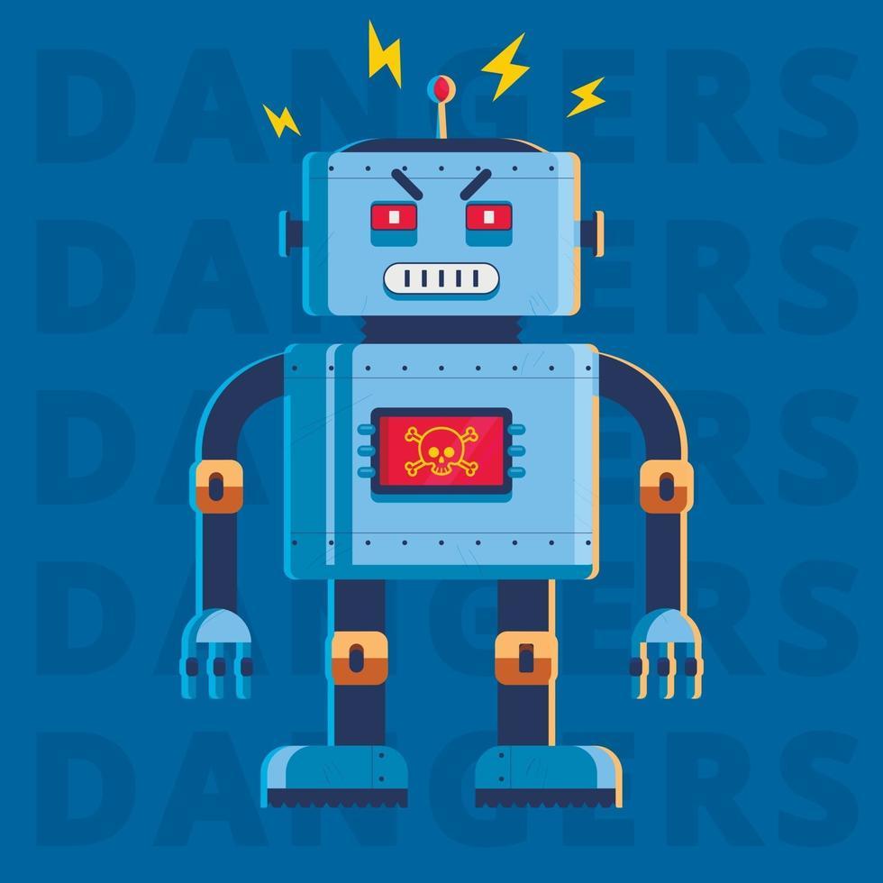 platte afbeelding van een kwaadaardige moordenaarrobot. hij is heel boos. karakter vectorillustratie vector