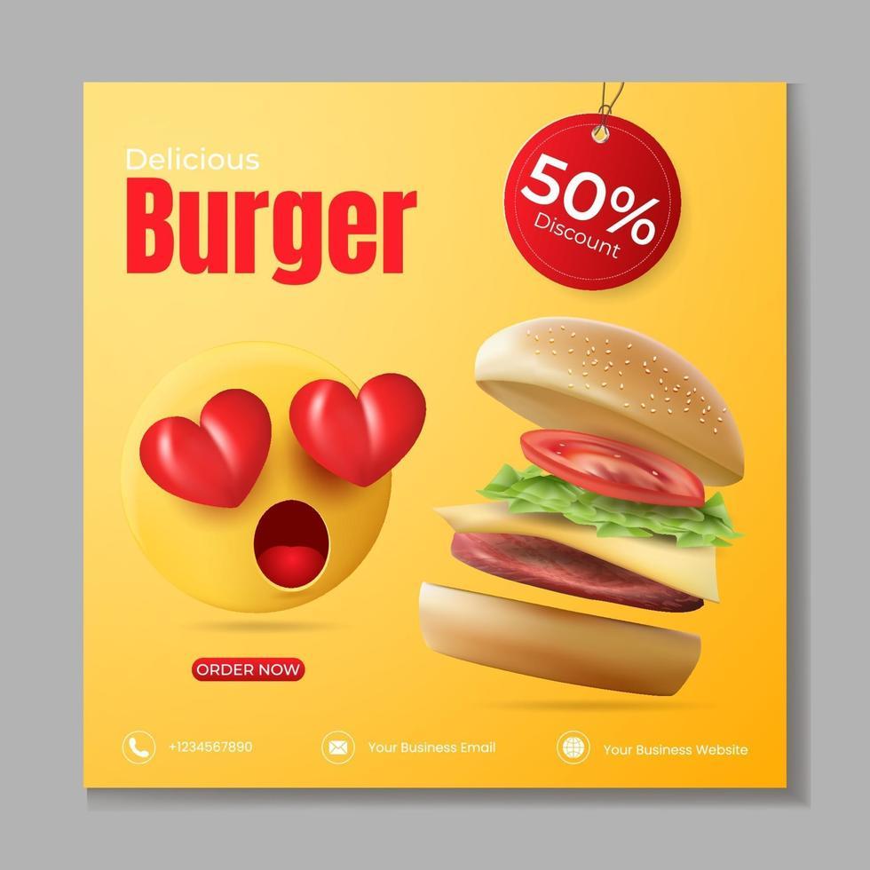sjabloon voor banneradvertenties voor hamburger of eten vector
