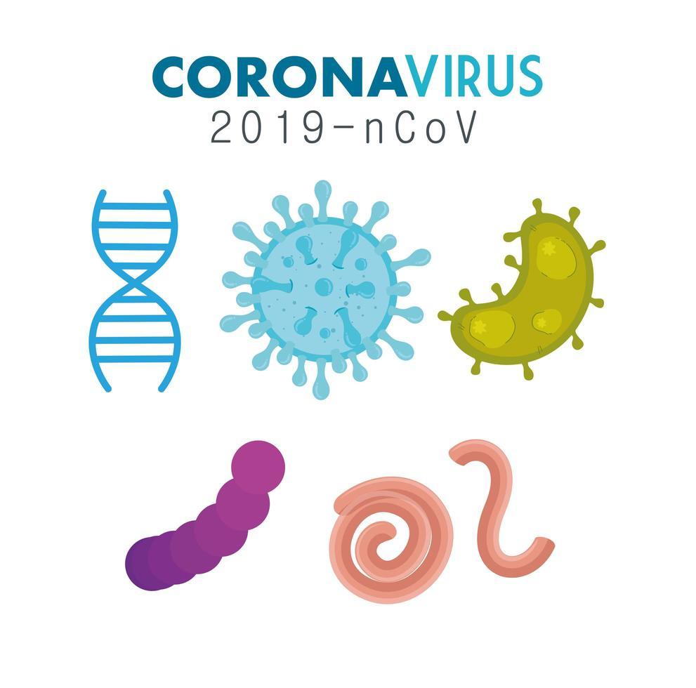 set van covid 19 pandemische micro-organismen vector