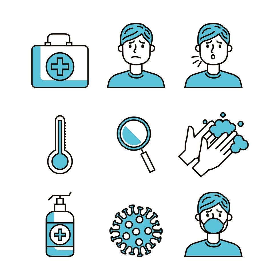 set van covid 19 pandemie iconen vector