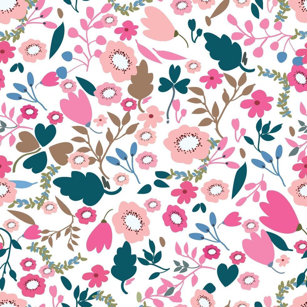 vintage roze en jungle bloem naadloze tropische patroonstijl vector