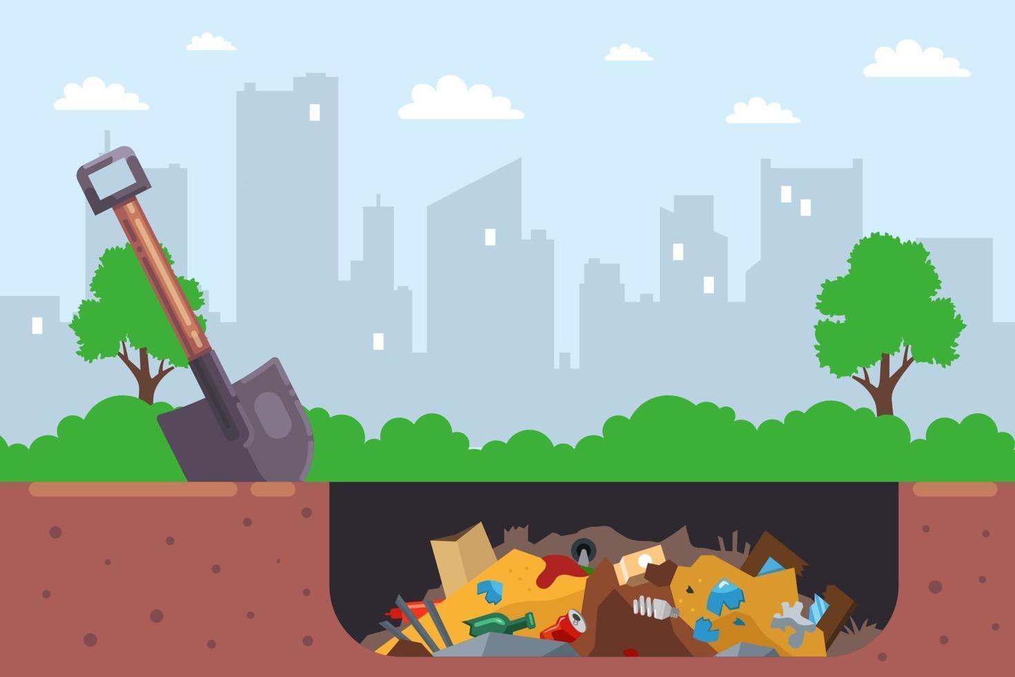 het is illegaal om stadsafval in een kuil te begraven. platte vectorillustratie. vector