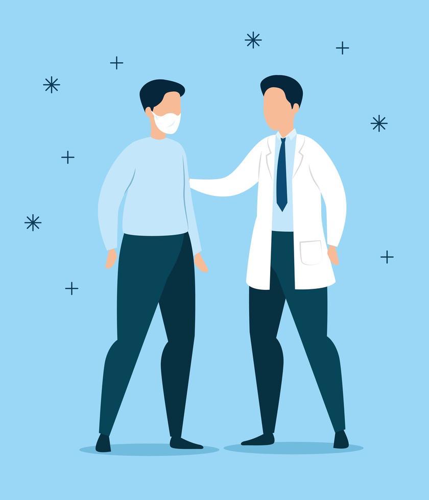 mannelijke arts en patiënt met gezichtsmasker vector