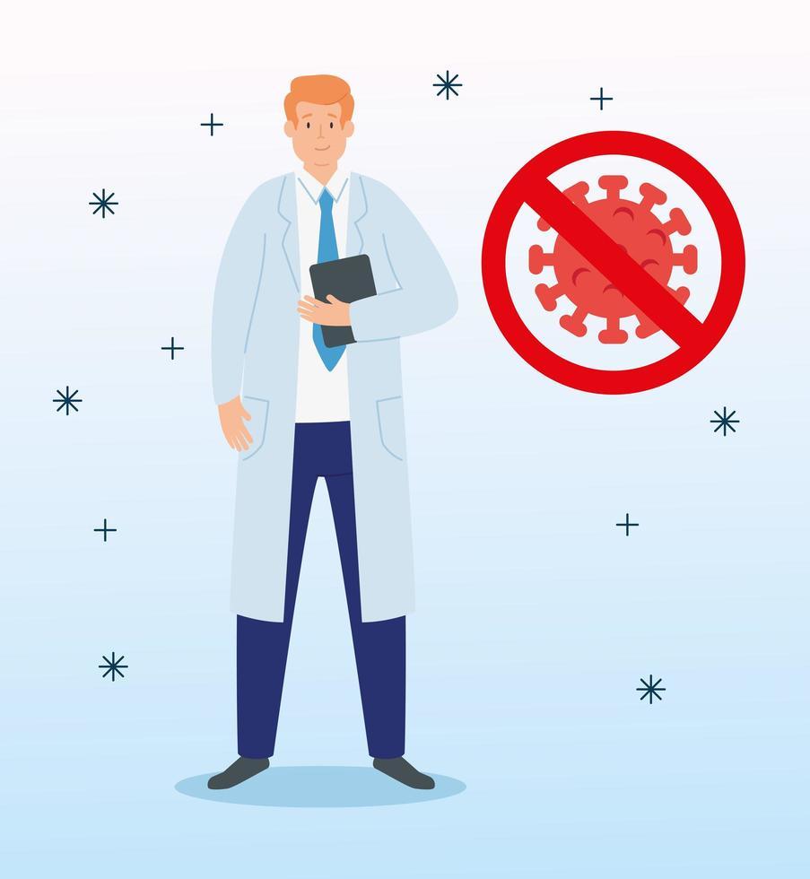 arts met een deeltje coronavirus en verboden signaal vector