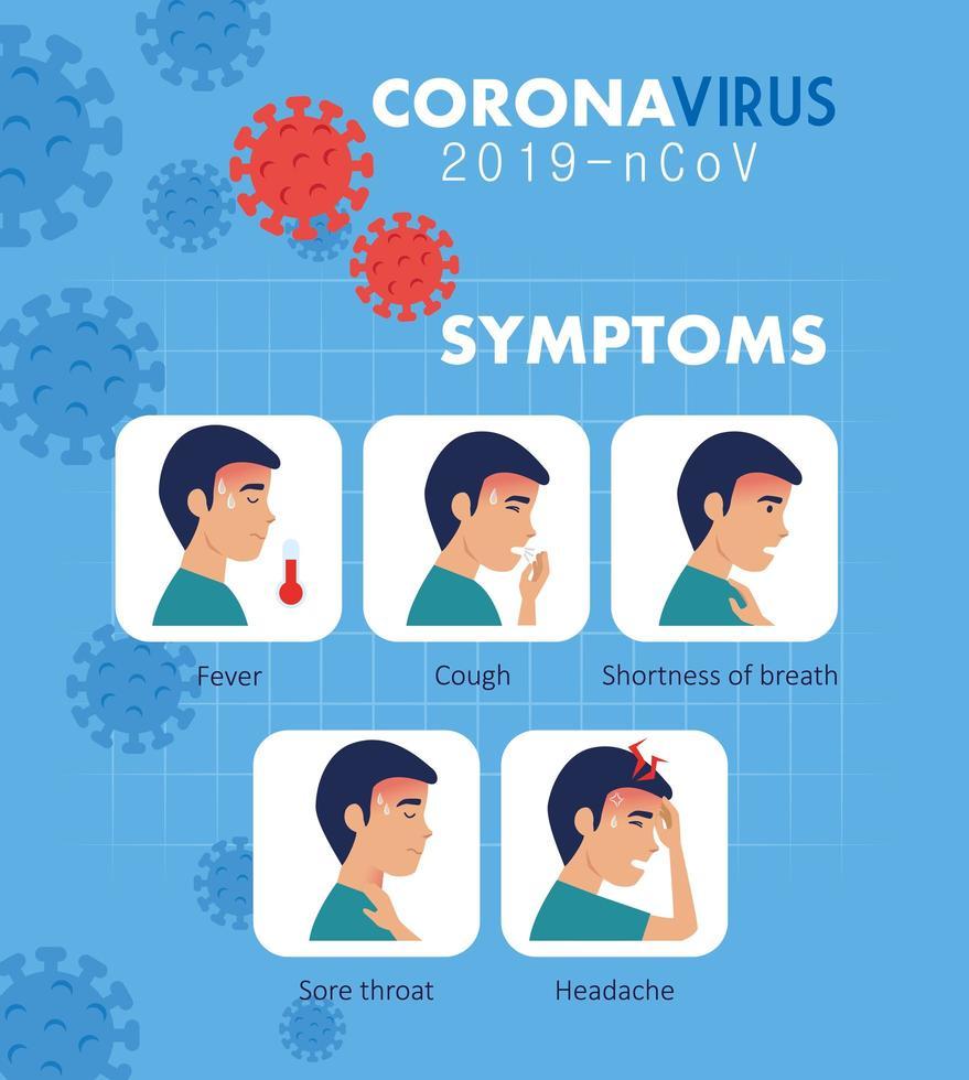 symptomen van coronavirus 2019 ncov met pictogrammen vector