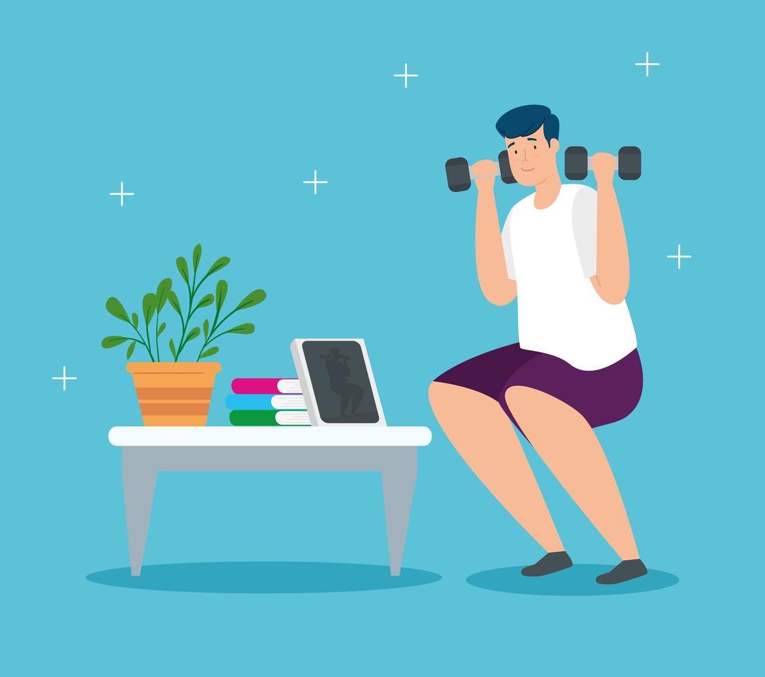 campagne blijf thuis met man gewichtheffen vector