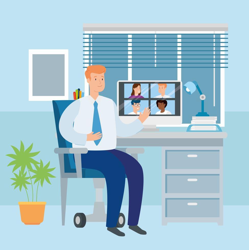 scène van zakenman werken vanuit huis vector