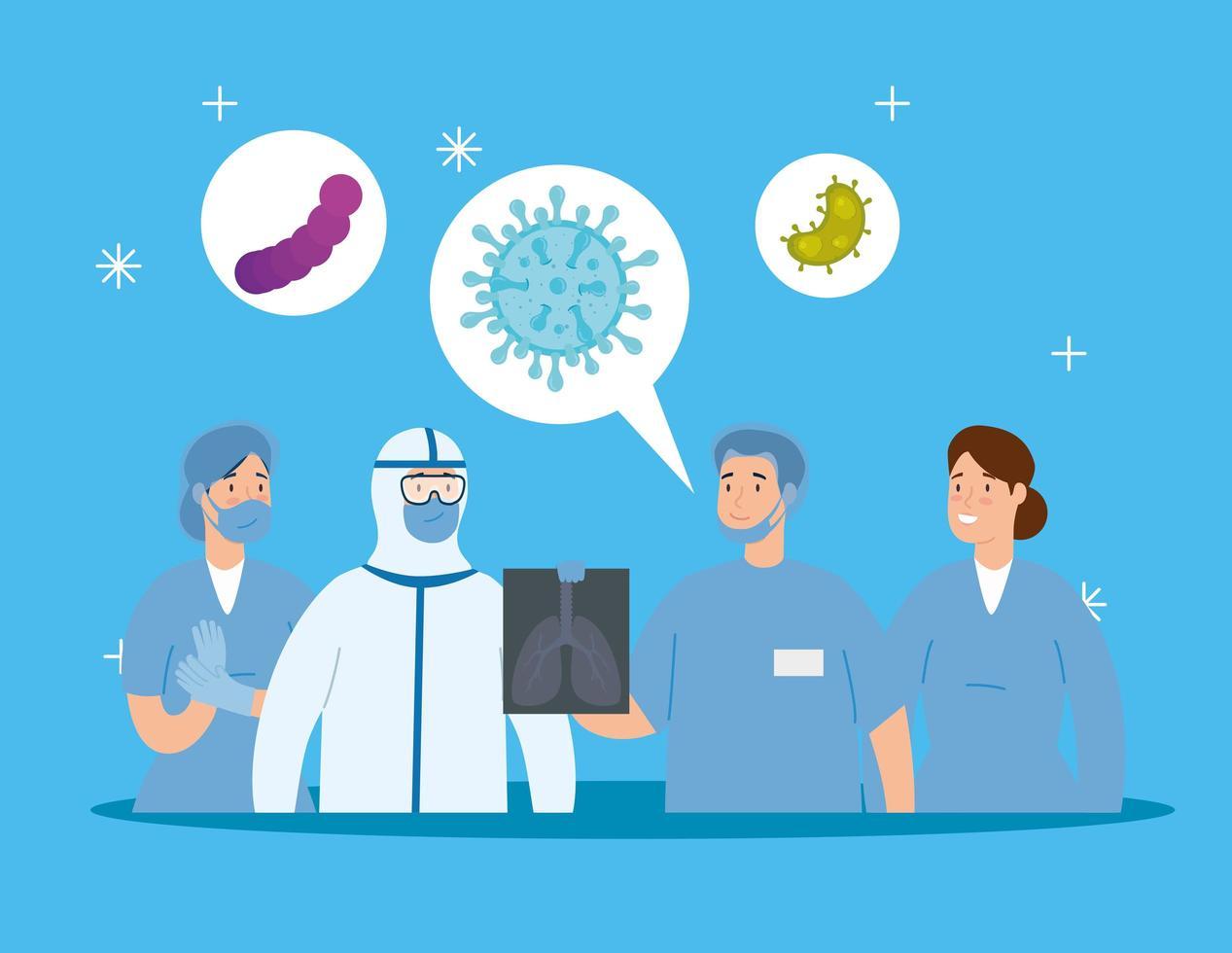 groep artsen die het coronavirus bestrijden vector