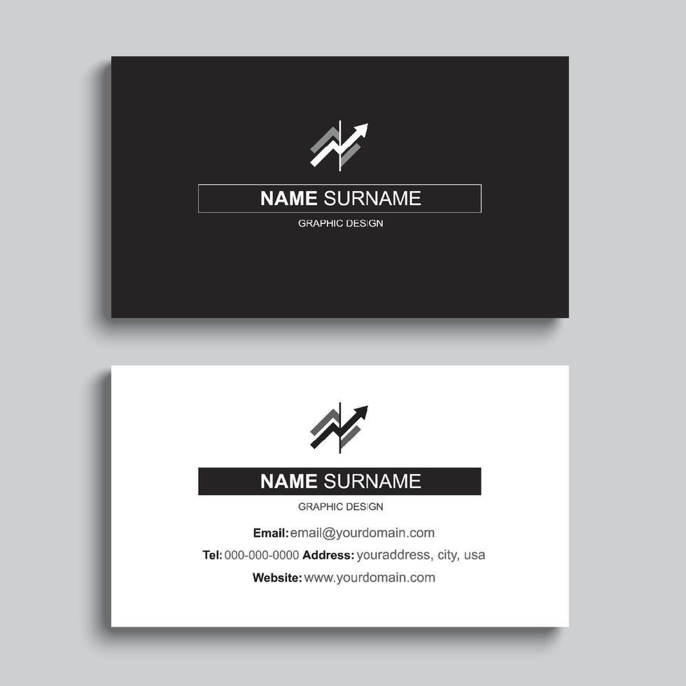 minimaal sjabloonontwerp voor visitekaartjes afdrukken. zwarte kleur en eenvoudige, schone lay-out. vector