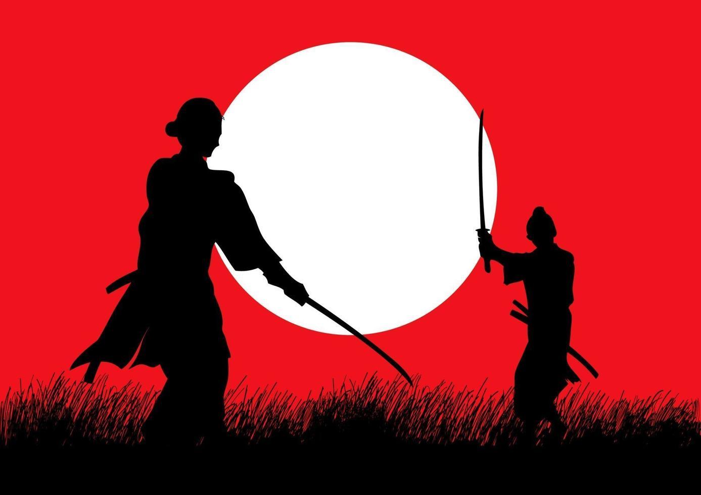 twee samurai in duelhouding tegenover elkaar op grasveld vector