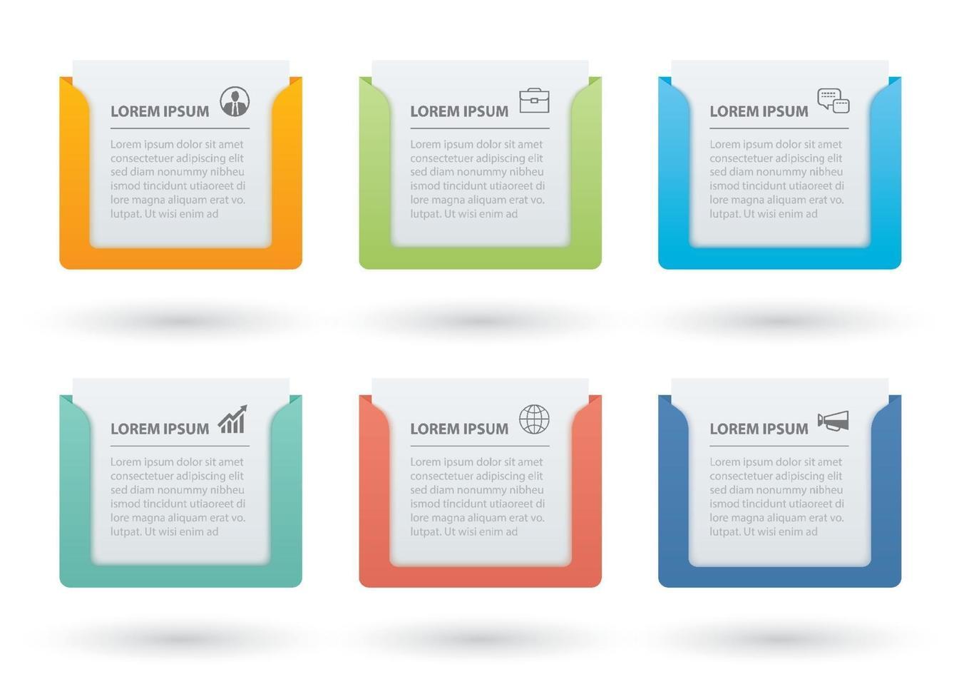 infographics rechthoek papieren index met 6 gegevenssjabloon. vector illustratie abstracte achtergrond. kan worden gebruikt voor werkstroomlay-out, bedrijfsstap, banner, webdesign.