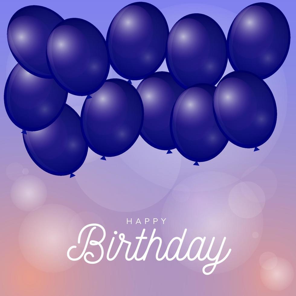 gelukkige verjaardag met ballonnen en bokeh lichte achtergrond vector