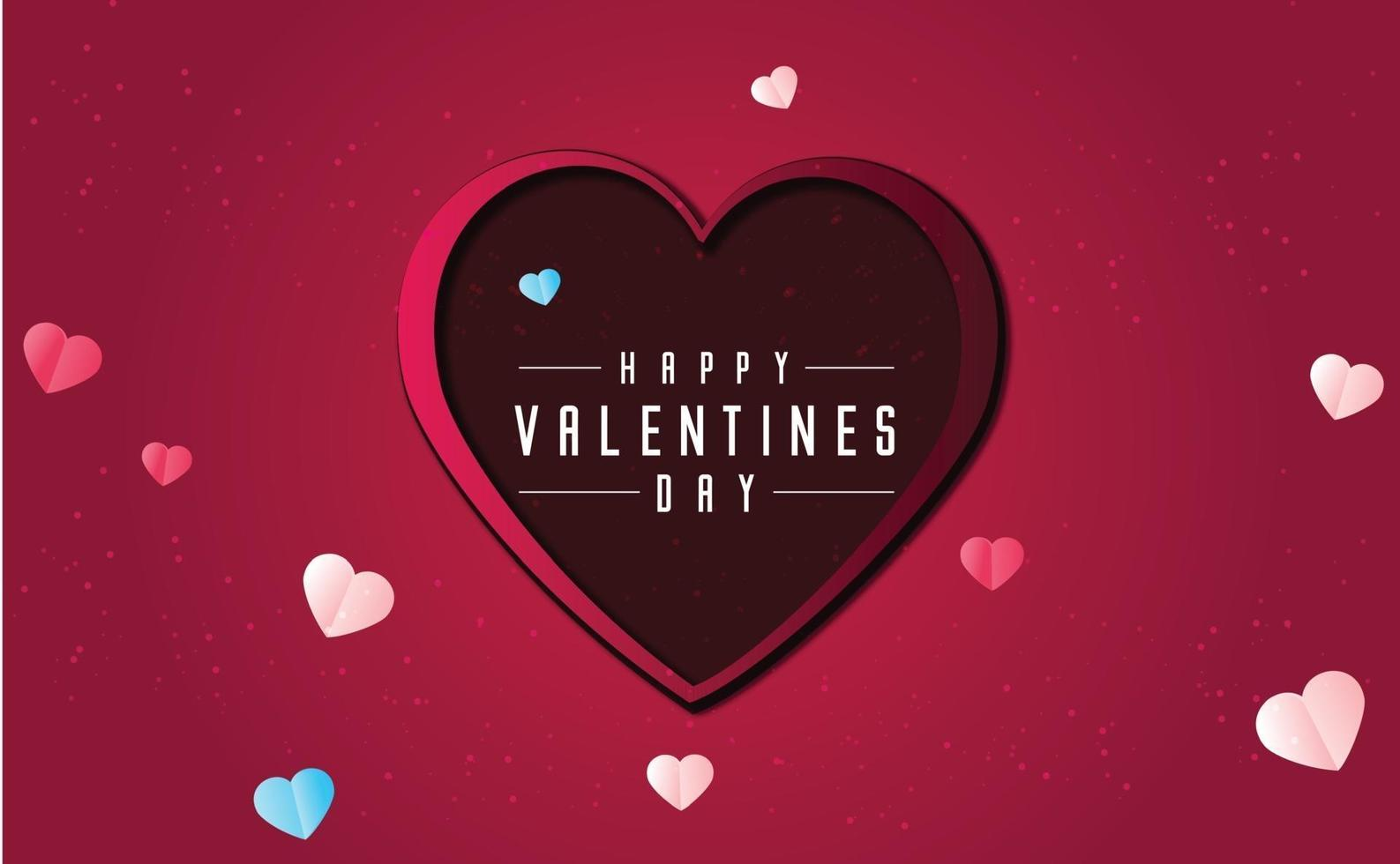 Valentijnsdag achtergrond concept in papieren stijl vector